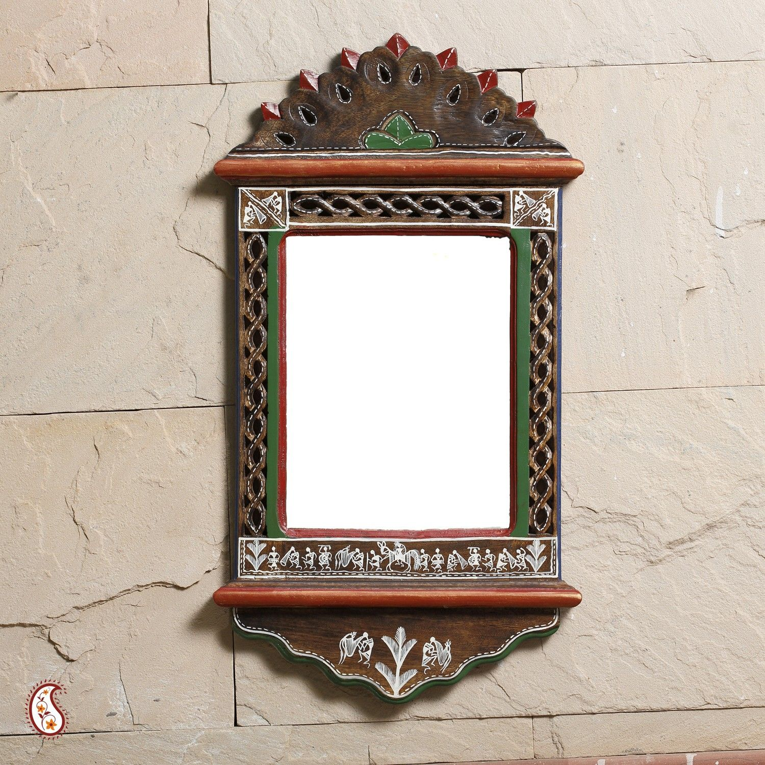 The Frame Is Made Of Wood Warli Paint On The