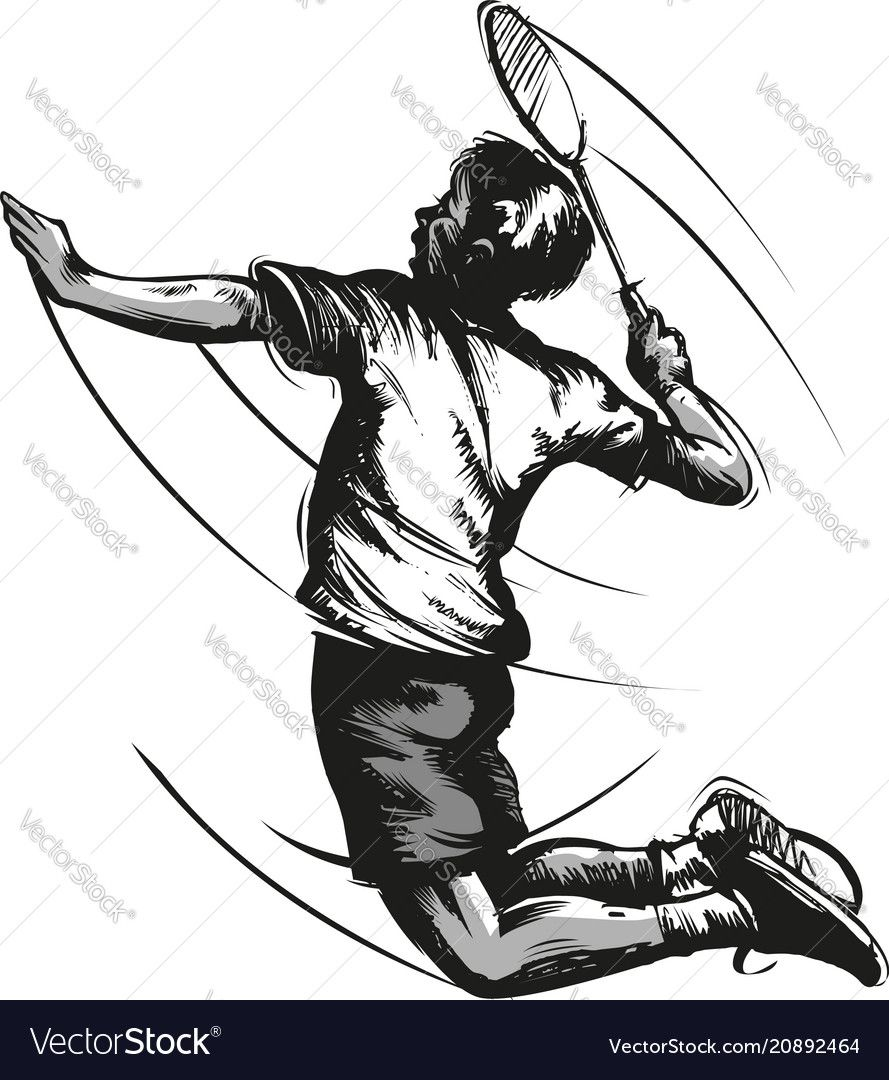 Badminton Player Vector Image On Vectorstock In 2020 Badminton Vector Illustration Illustration