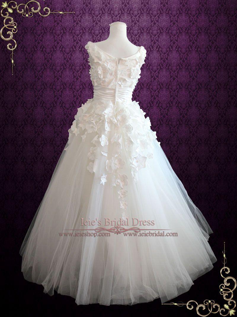 Custom wedding dress designers  Modest Aline Wedding Dress with Hand made Satin Flowers  Wedding