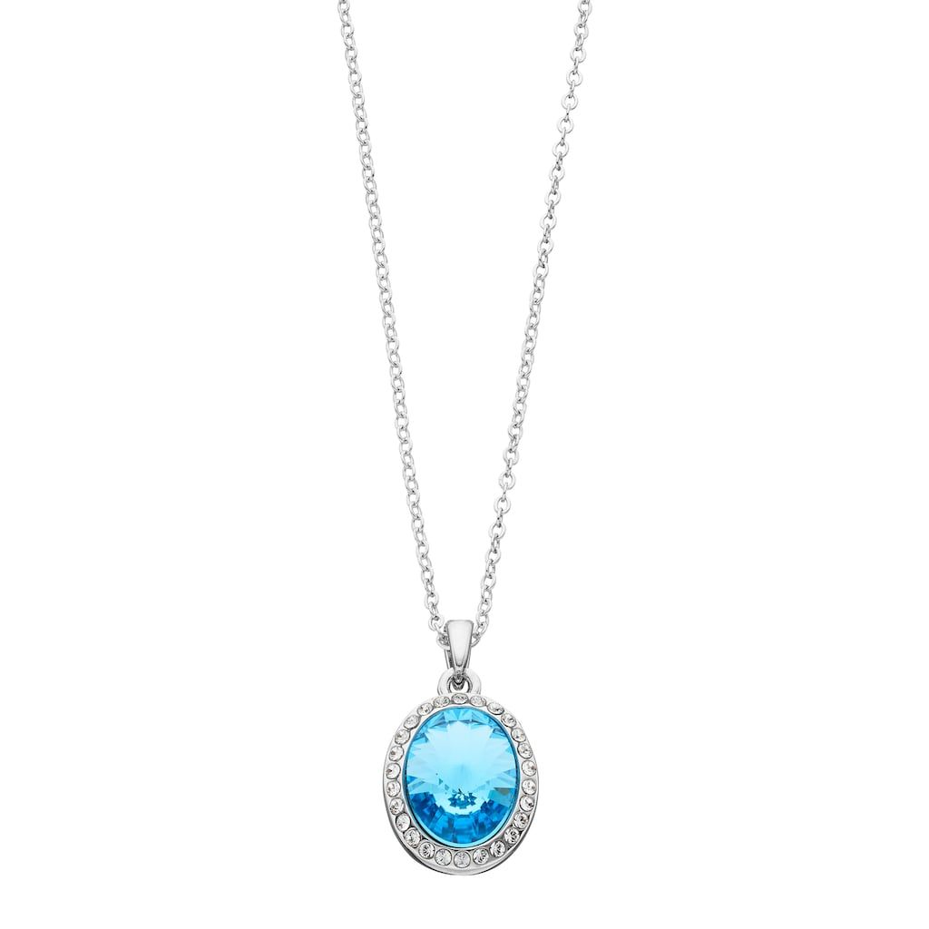Brilliance brilliance silver tone oval halo pendant necklace with