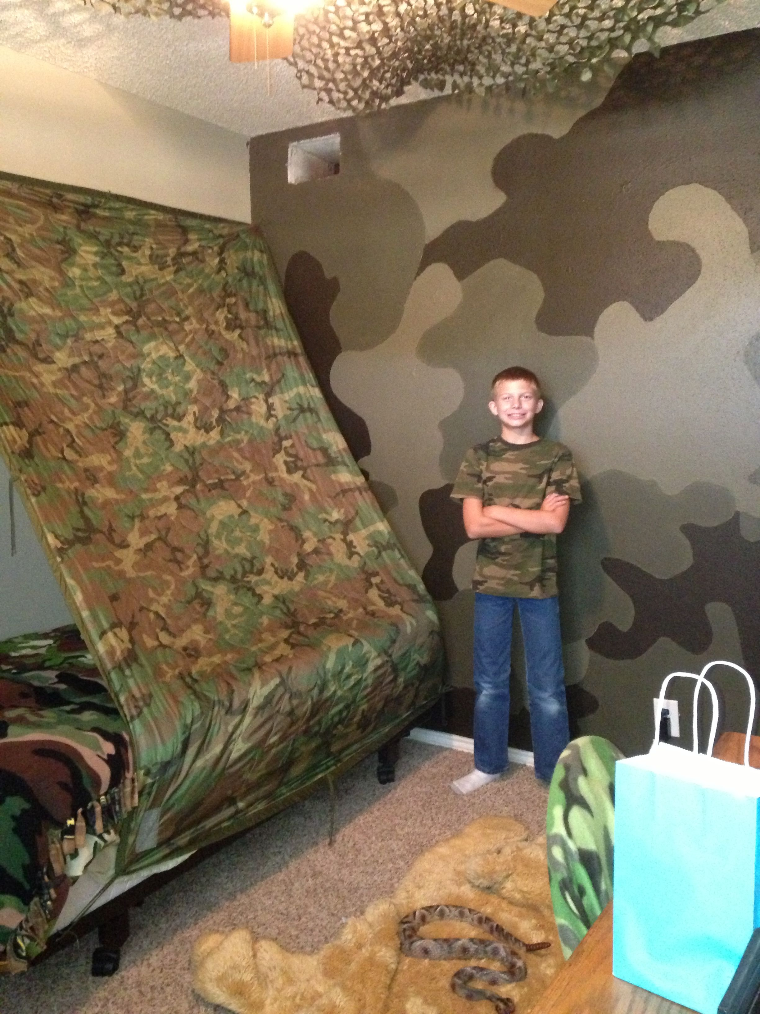 Where S Kevin Camo Wall Was A Hit With Him Camo Bedroom