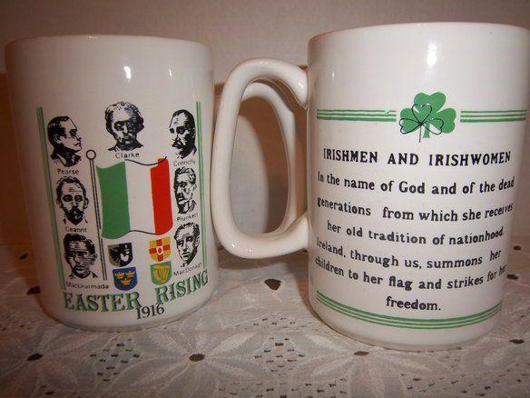 Pair of Irish Fine Earthenware Mugs Easter Rising