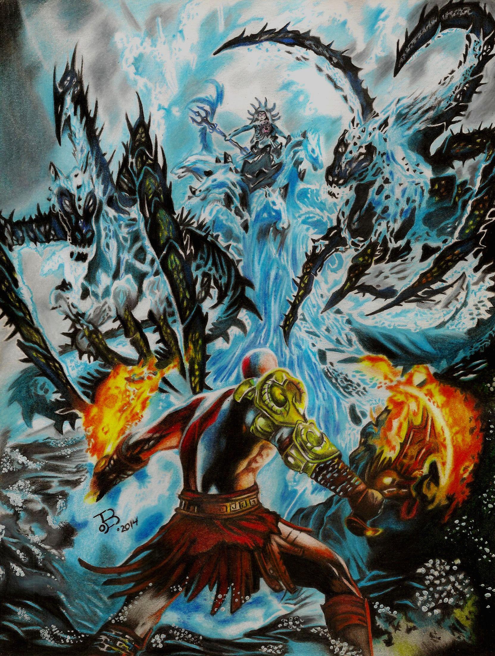 God Of War 3 Kratos Vs Poseidon Por Ejboart Dibujando Kratos God Of War Fondo De Pantalla De Anime Arte De Videojuegos