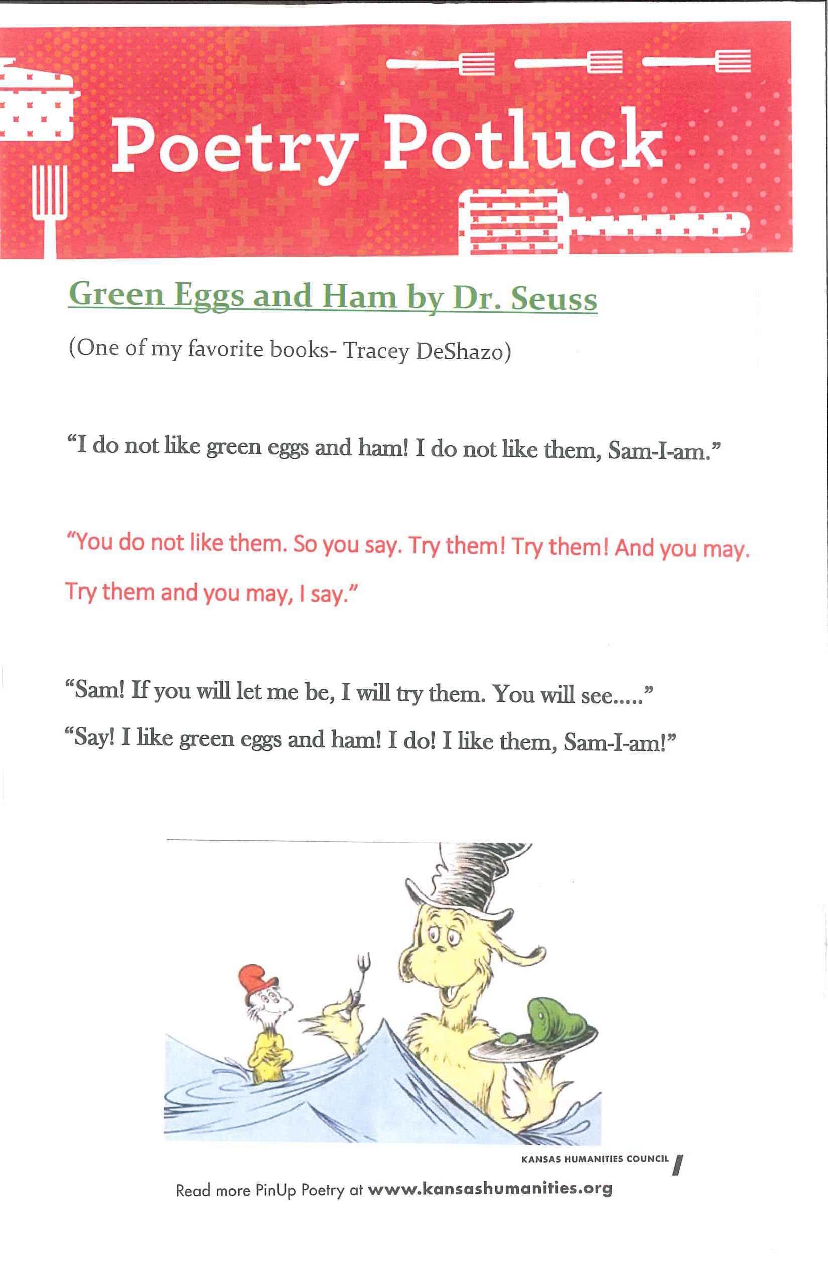 dr seuss green eggs and ham book lyrics