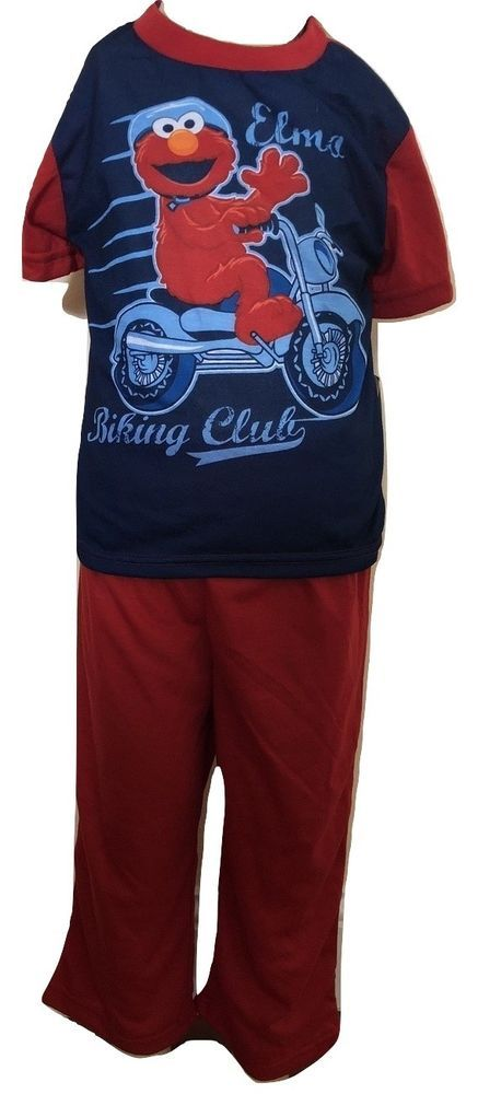 bd3a4de25d Sesame Street Elmo Boys Red And Blue 2 Piece Short Sleeve Pajama Set Size  4T #SesameStreet #TwoPiece