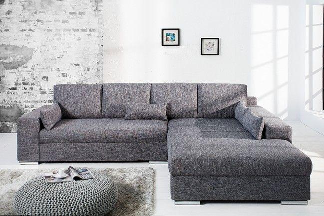 Design Wohnlandschaft Vincenza Grau Strukturstoff Mit Bettfunktion