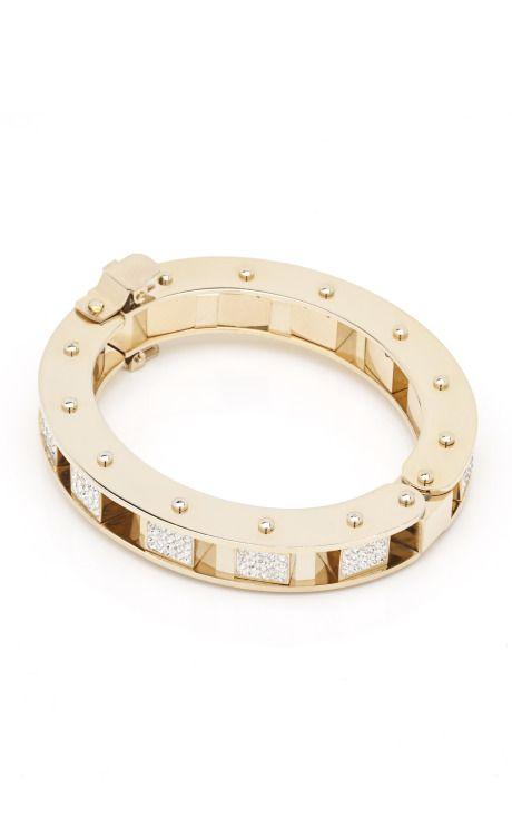Lele Sadoughi  Crystal Pave Mini Cube Slider Bracelet  $375