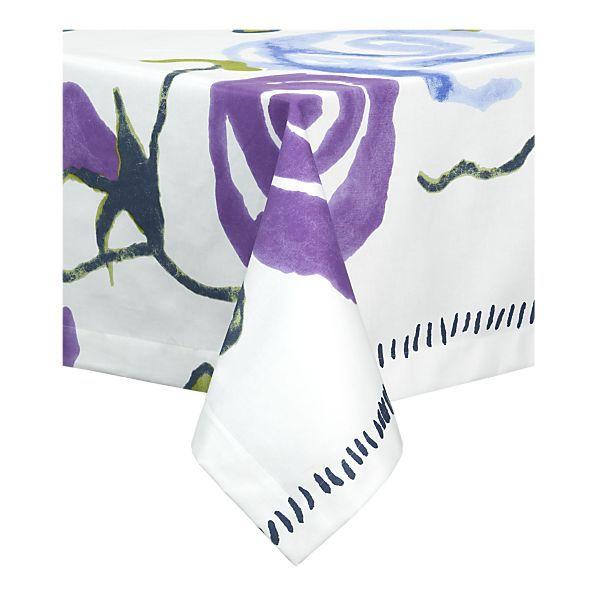 "My Passover 2011 Tablecloth.  Marimekko Ruusu 60""x120"" from Crate & Barrel"