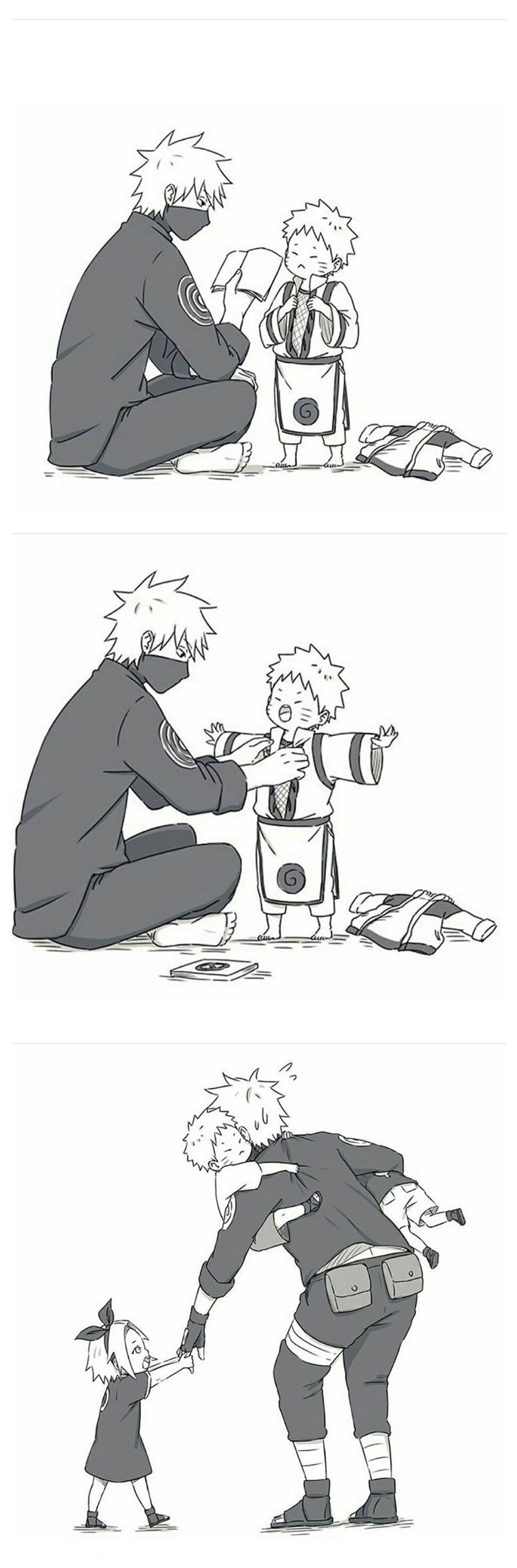 Kakashi x little naruto sasuke and sakura personnage manga kakashi naruto naruto mignon