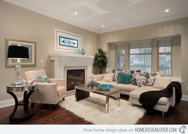 Decorating With Mirrored Furniture In 15 Beautiful Living Rooms Home Design Lover Beige Sofa Living Room Beautiful Living Rooms Contemporary Living Room Design