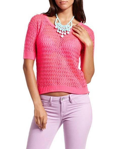 Open Stitch Neon Pink Sweater - perfect for that in-between summer and fall time!