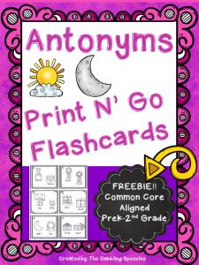 Free Antonym Flashcards- Just Print N' Go | The dabbling