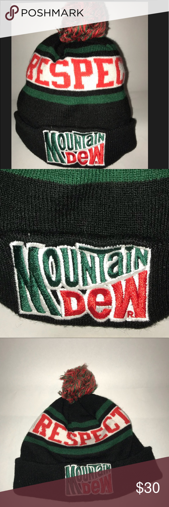 cfeaea19512 Mountain Dew Beanie Hat Show your respect with this black