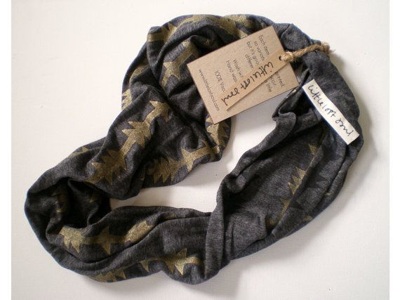 Soft Jersey Hand Printed Circular Scarf by littlelostsoul on Etsy. £14.00 GBP, via Etsy.