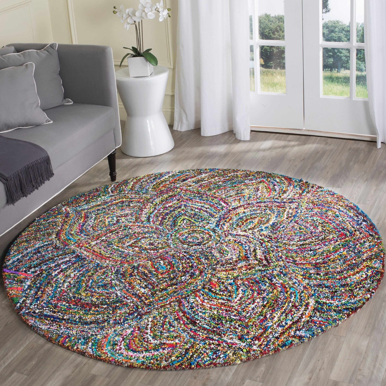 rug for living room size%0A Safavieh HandTufted Nantucket Multi Cotton Rug    u     Round   NAN   A R    Size   u