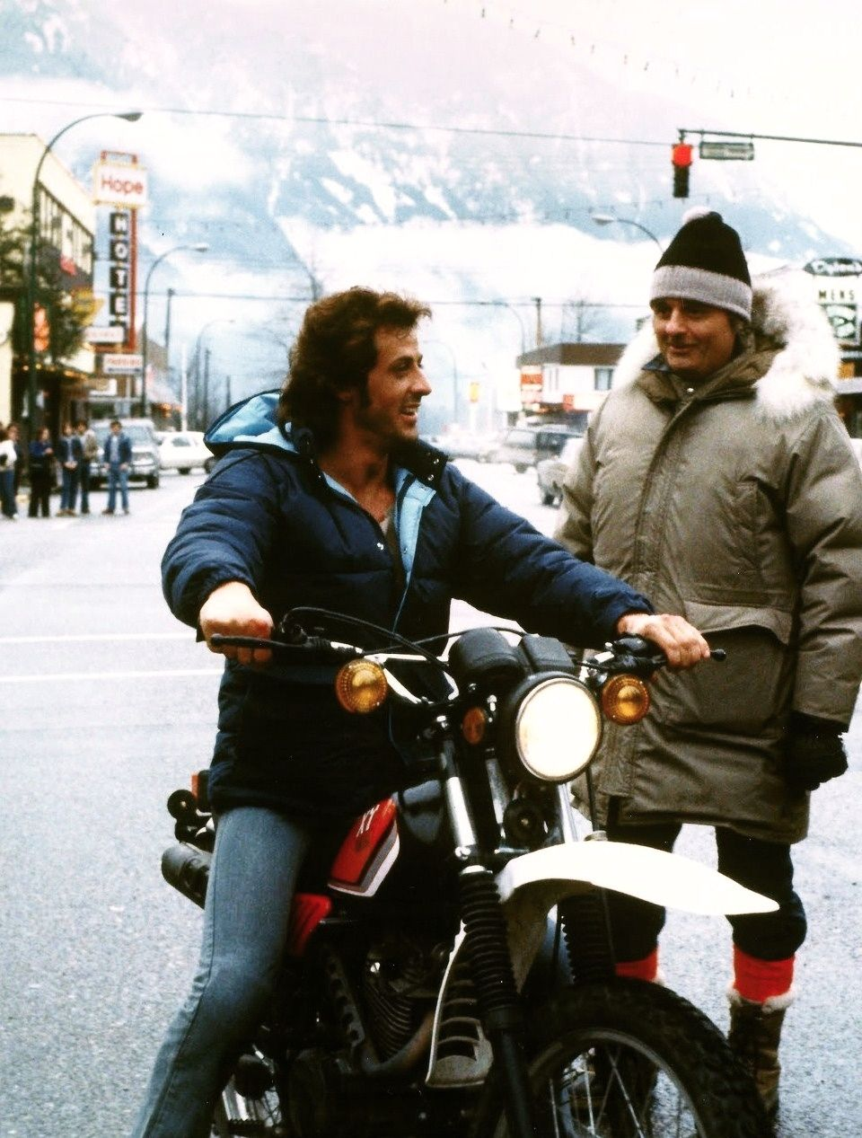 """Sylvester Stallone and Ted Kotcheff """"First Blood"""" set Hope, British Columbia, 1982"""