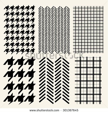 Houndstooth, Herringbone And Windowpane Check Seamless Pattern ...