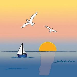 Ocean sunset. Clipart image with sailboat