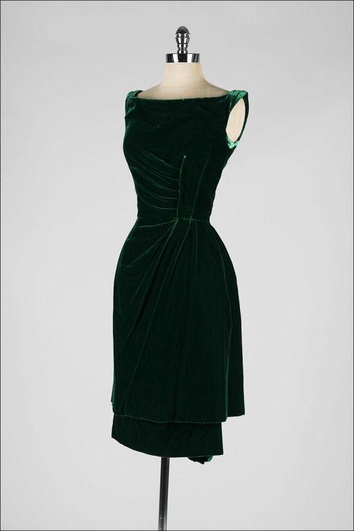 Vintage 1950\'s Ceil Chapman Emerald Green Silk Velvet Dress ...