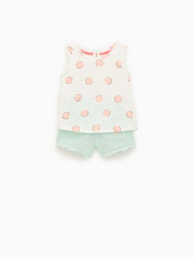 7b89031a910 ZARA - Unisex - Top and shorts set - Light turquoise - 18-24 months (36,2  inches)