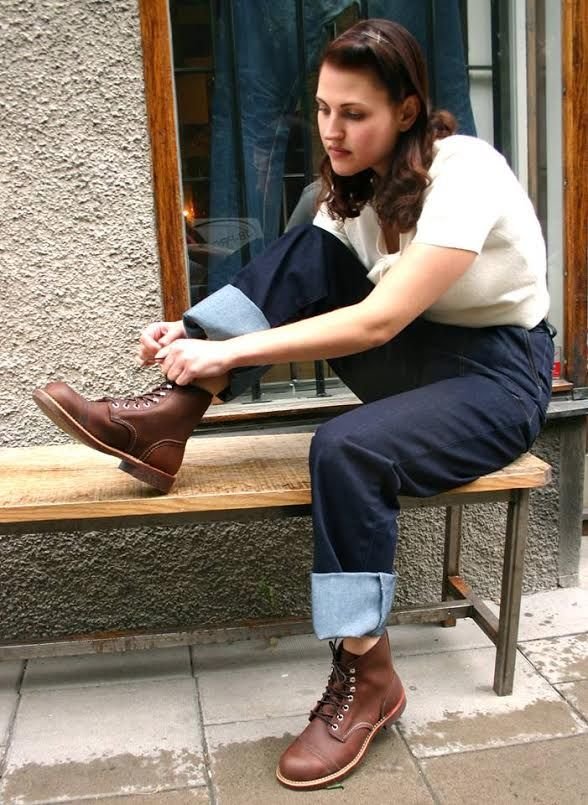 Woman wearing Red Wing Iron Ranger Boots in Amber Harness  465f33bced