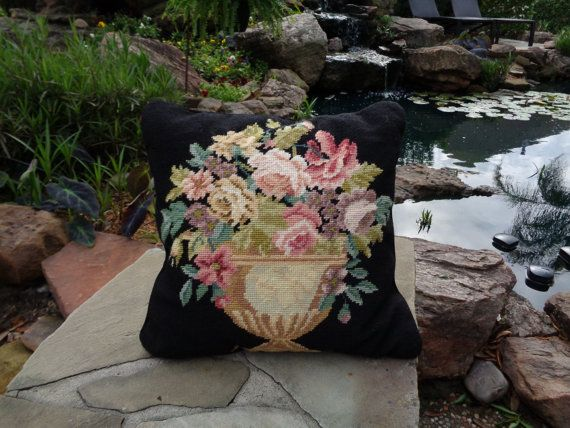 Vintage Needlepoint Pillow Black Floral Urn by tapestryoflife