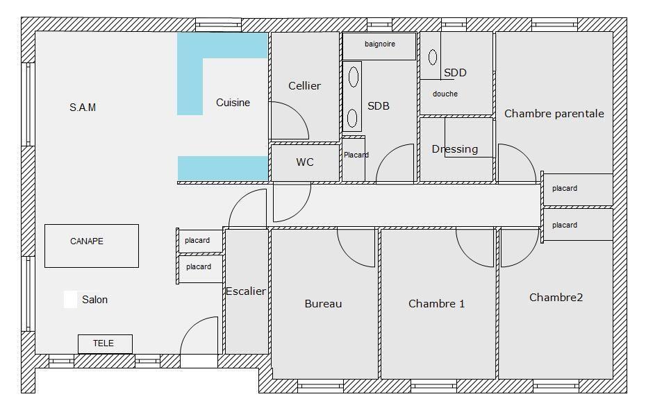 Plain pied 106m² sur sous-sol de 115m² - 23 messages Projets à - plan maison plain pied  chambres  bureau