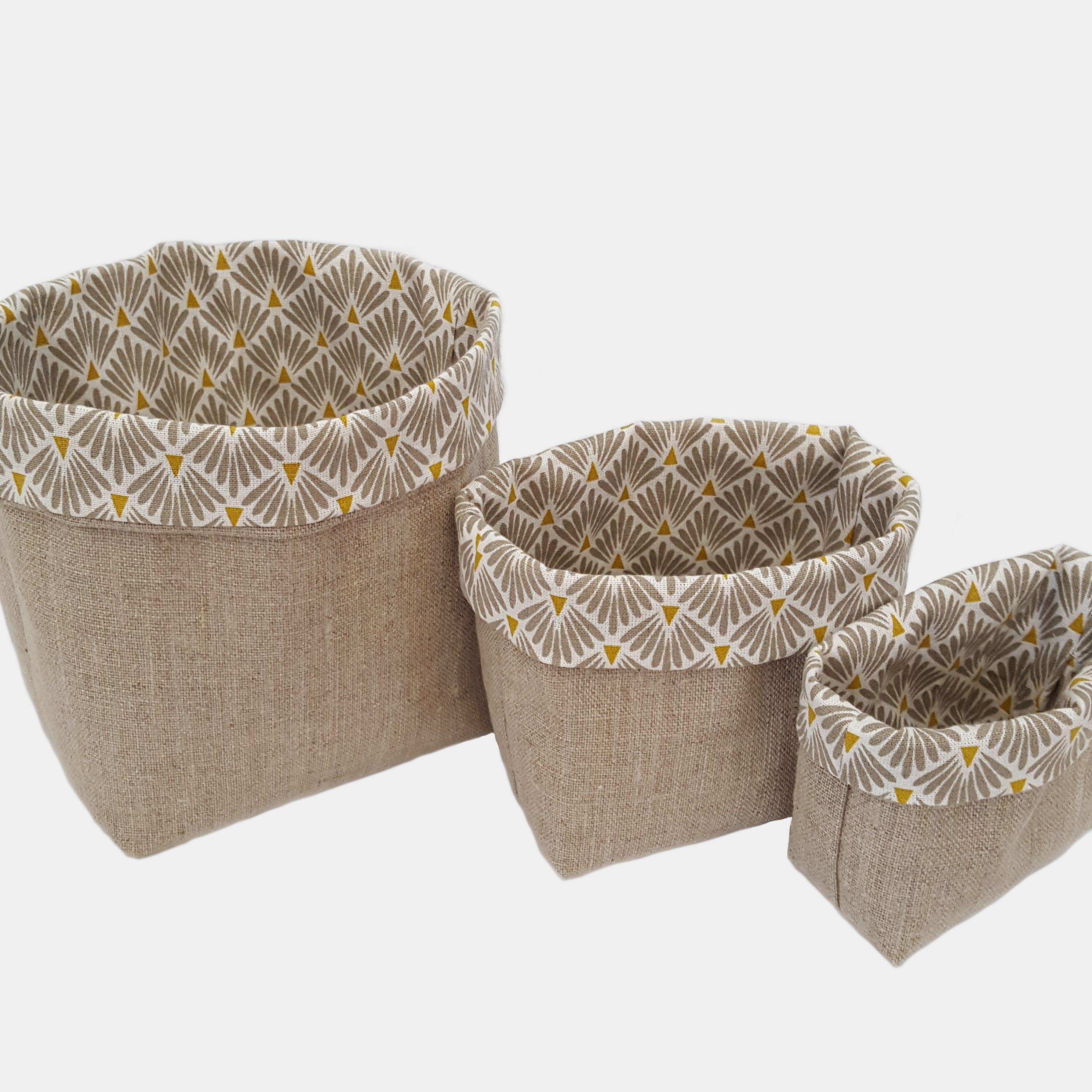 3 Paniers de rangement empilables en tissu lin et beige blanc et