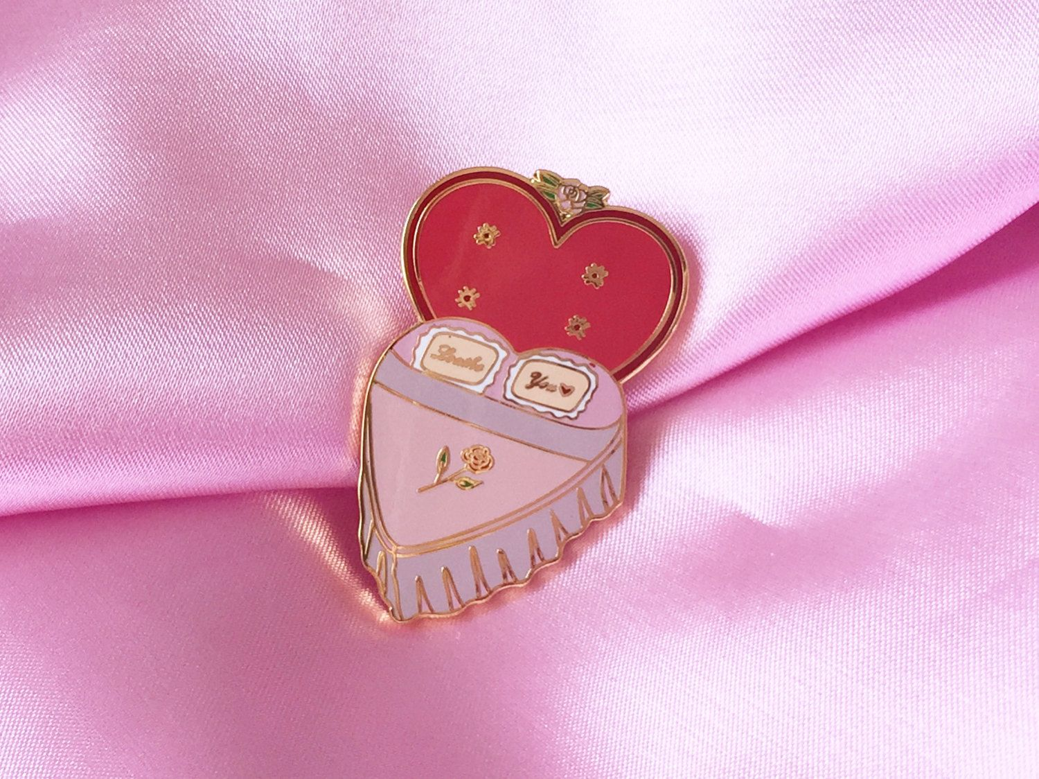 Loathe Motel Heart Shaped Bed 1 5 Enamel Lapel Pin Enamel Lapel Pin Heart Shapes Backpack Pins