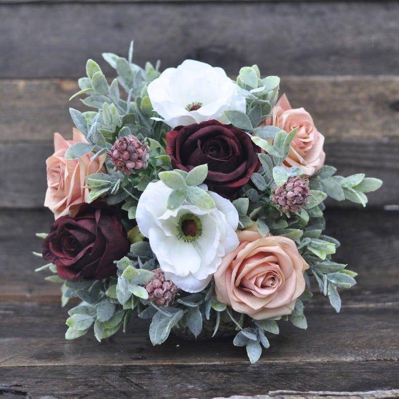 Wedding Bouquet Silk Wedding Bouquet Burgundy Rose Rose Etsy Flower Bouquet Wedding Artificial Flowers Wedding Wedding Flower Packages