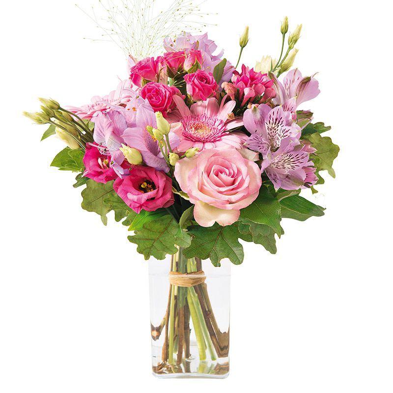 Tendre Bisou Roses Et Lisianthus Interflora Fleurs Fete Des
