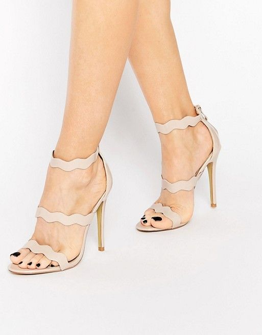 1bd6dae6766 Public Desire Ela Beige Wavy Strap Heeled Sandal | I love high heels ...