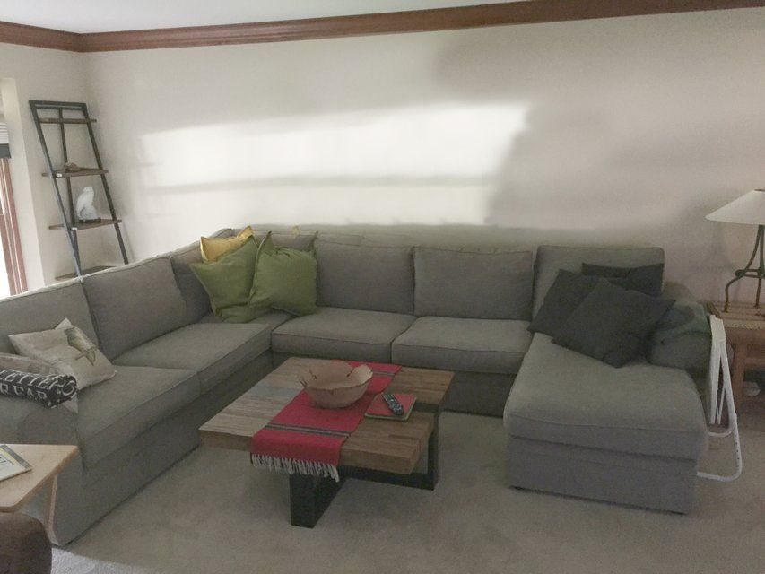 pottery barn pierce sectional armless loveseat left arm sofa and right arm chaise in poly down in performance tweed graphite