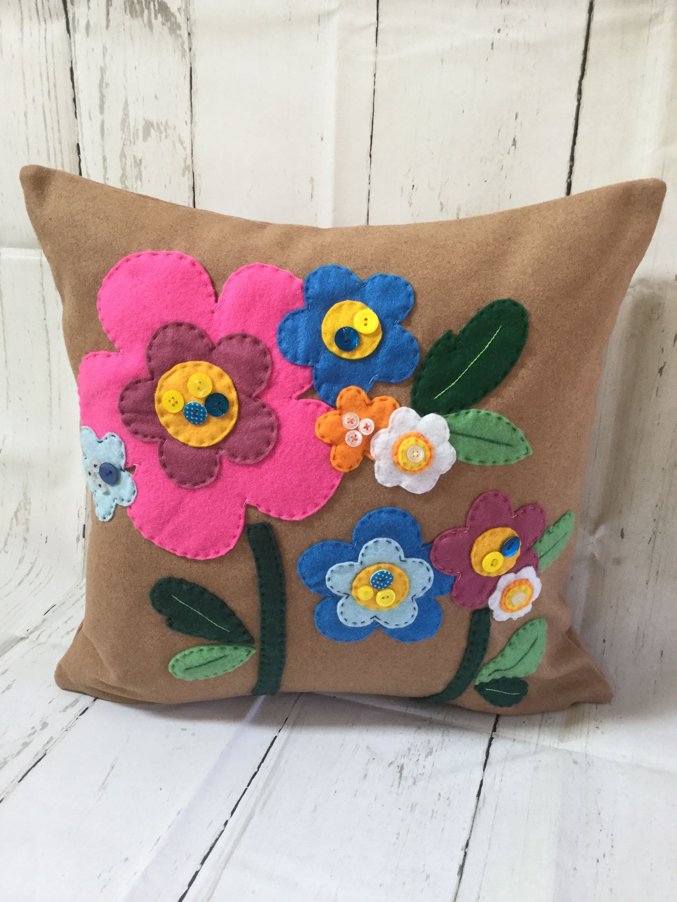 Wool Felt Cushion With Applique Flowers And Button Embellishments By