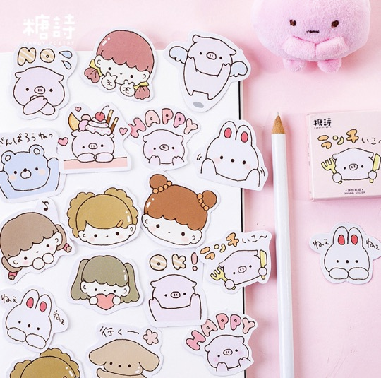 Journal Stickers Cute Piggy Sticker Sheet Animal Sticker Illustrated Die Cut Planner Stickers