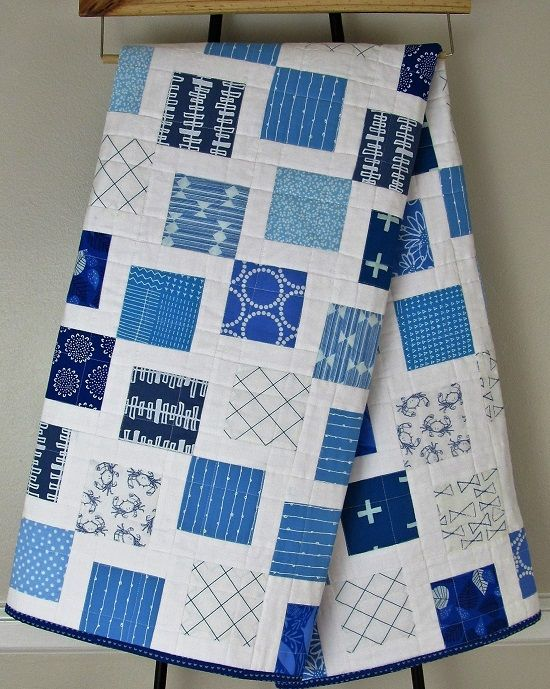 Lottie's Squares in Blue and White! A Finished Quilt   Lindy J