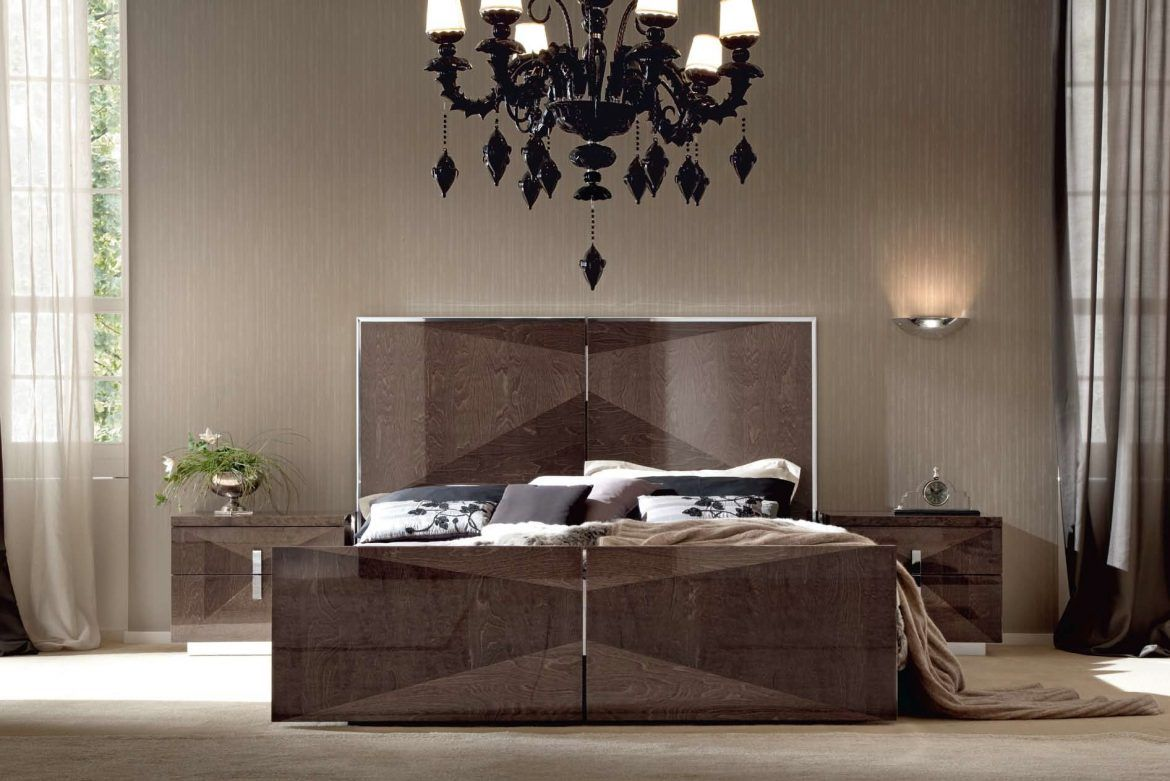 The Glamourous Alf Italia Eva Bed In This Chandelier Bedroom