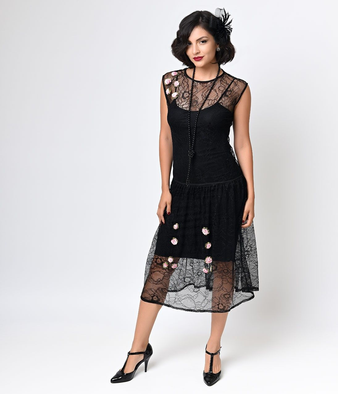 1920 lace dress  Iconic by UV s Black Lace Rosette Gypsy Flapper Dress  r