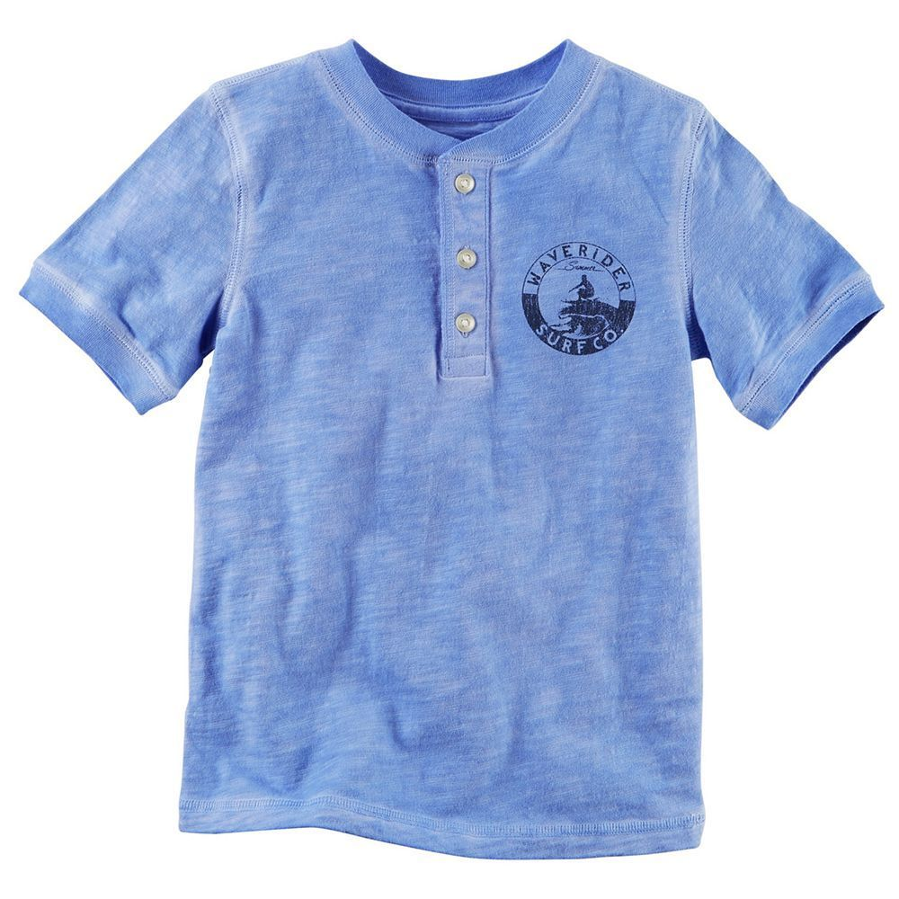 Toddler Boy Carter's Chest Graphic Henley Tee, Size: 3T, Med Blue