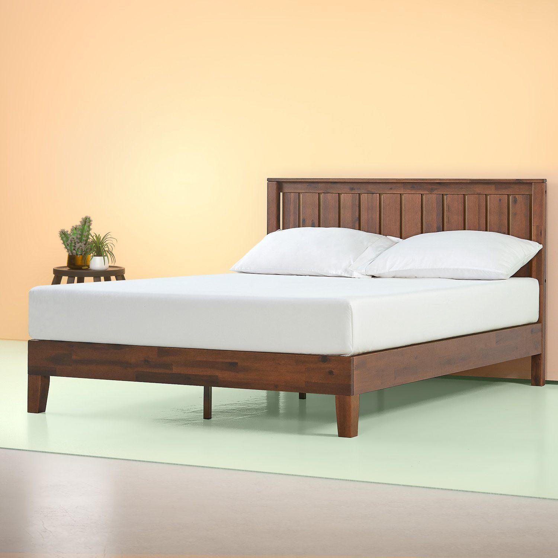 Vivek Deluxe Wood Platform Bed With Headboard Antique