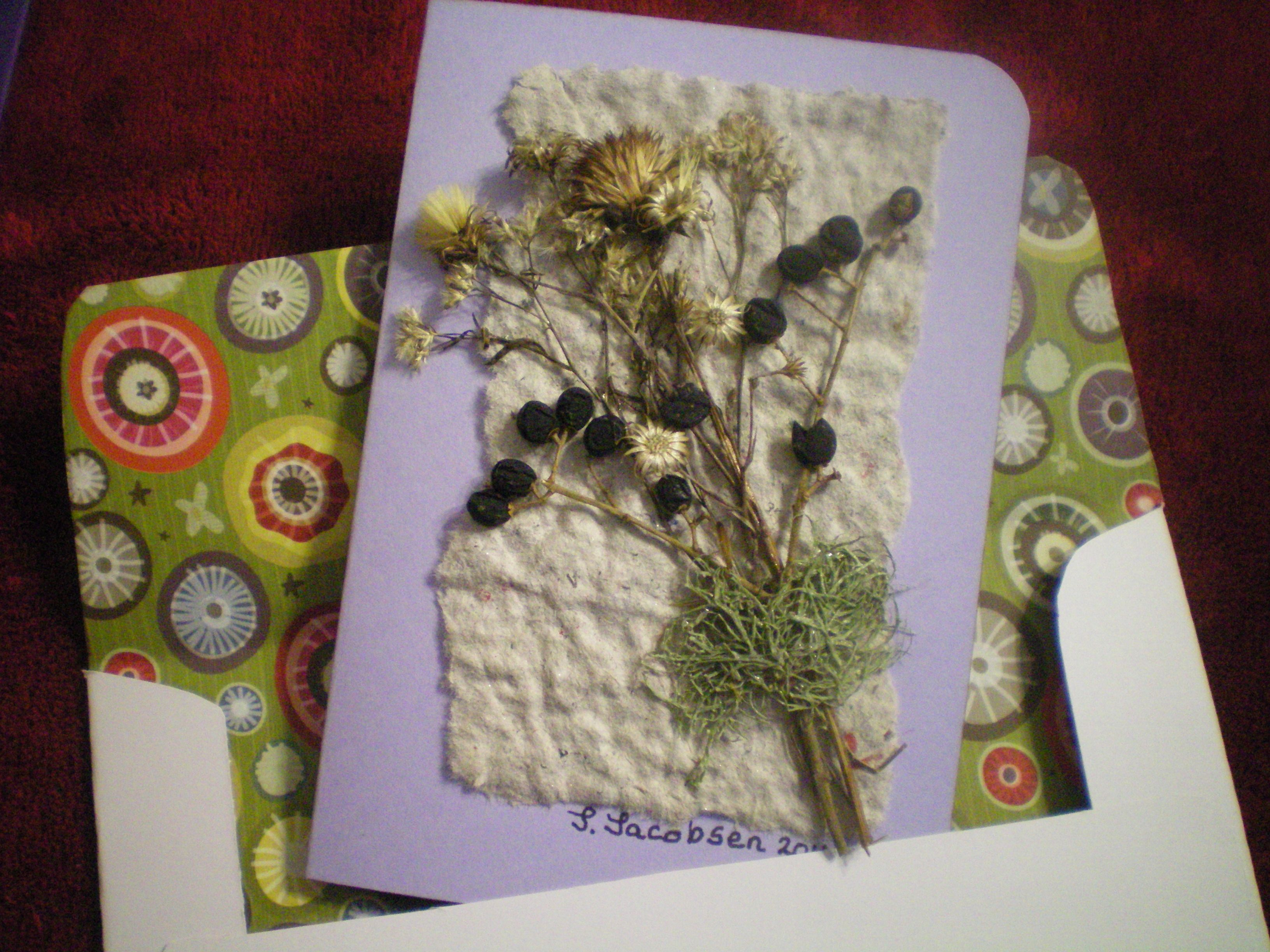 How to scrapbook dried flowers - Card Envelope I Made From My Homemade Paper Dried Flowers Scrapbook Paper And