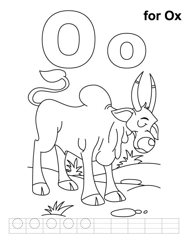 O For Ox Coloring Page With Handwriting Practice Download Free O