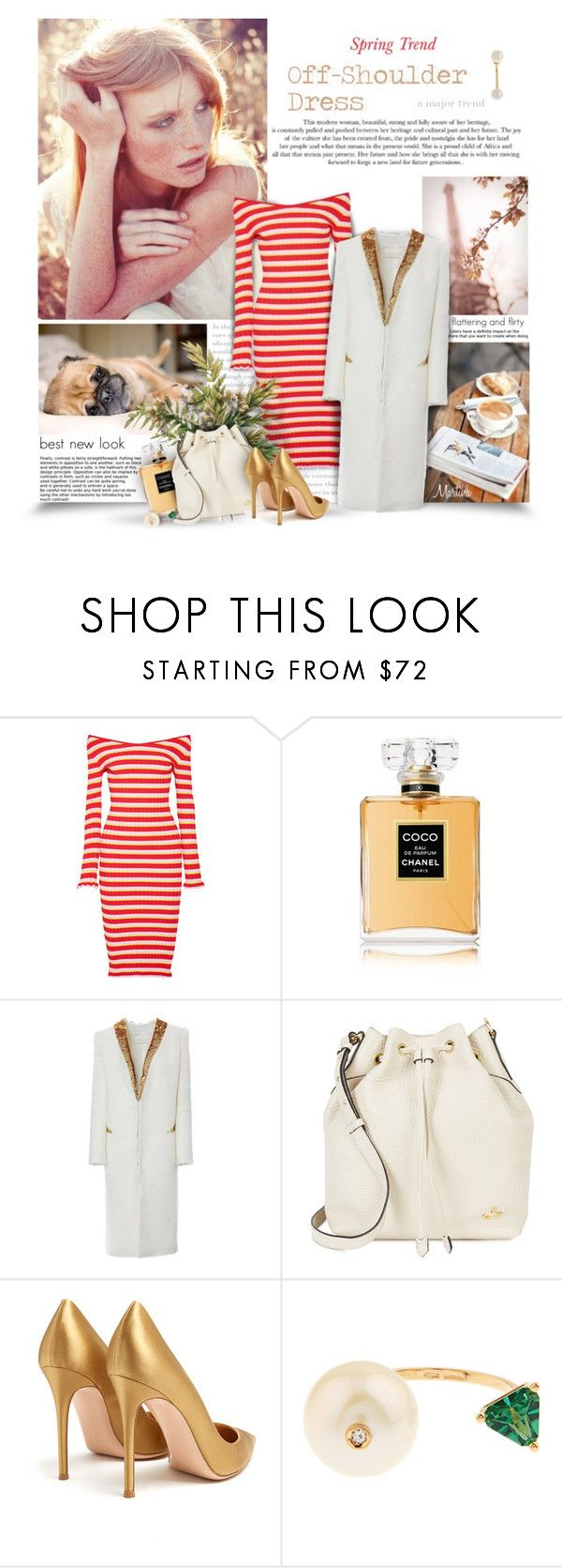 """""""Spring Trend: Off-Shoulder Dress"""" by thewondersoffashion ❤ liked on Polyvore featuring Altuzarra, Chanel, Genny, Vivienne Westwood, Gianvito Rossi and Delfina Delettrez"""