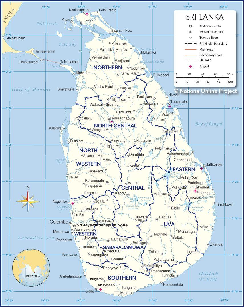Administrative Map Of Sri Lanka Political Map Map Sri Lanka