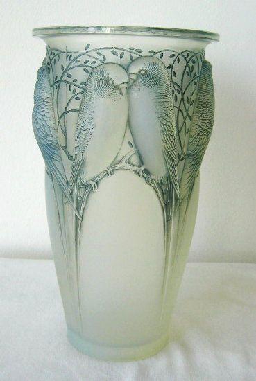Rene Lalique Vase With Love Birds C1924 Breathtaking Glass