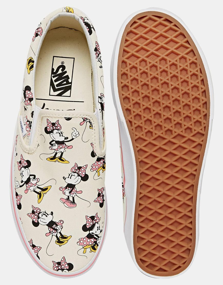 Image 3 of Vans Classic Cream Minnie Mouse Slip On Trainers 0ce2c8df2