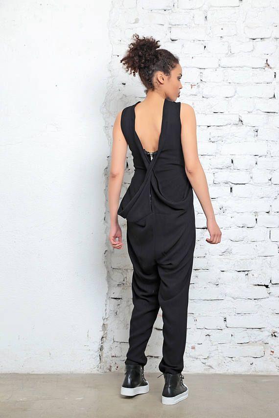 Minimalist Jumpsuit, Black Jumpsuit, Womens Jumpsuit, Black Overall, Sleeveless Jumpsuit, Gothic Clothing, Summer Jumpsuit, Workout Clothing is part of Workout Clothes Black -  168 170 cm