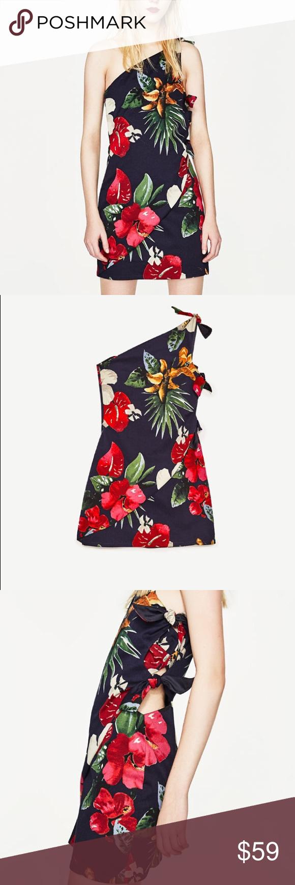 8ccadf5221b7 Zara Hawaiian floral print dress w/ asymmetric hem Love floral print with  dark background.... you'll be set for luau Zara Dresses
