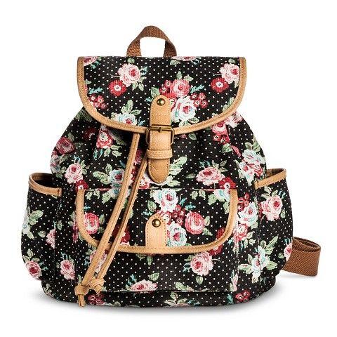 Women's Polka Dot and Floral Print Mini Backpack Handbag with ...