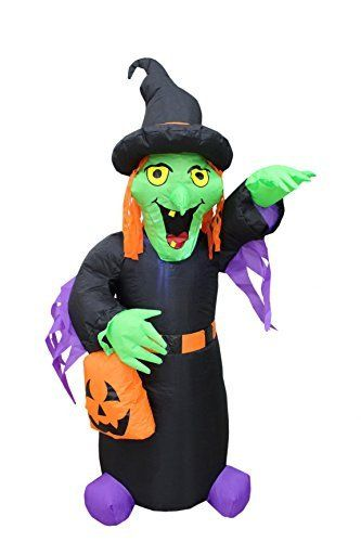 Foot tall halloween inflatable witch with pumpkin bag
